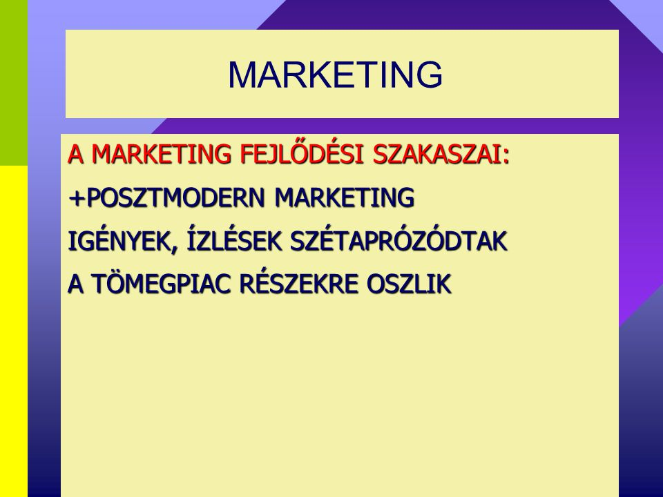 MARKETING A MARKETING FEJLŐDÉSI SZAKASZAI: +POSZTMODERN MARKETING