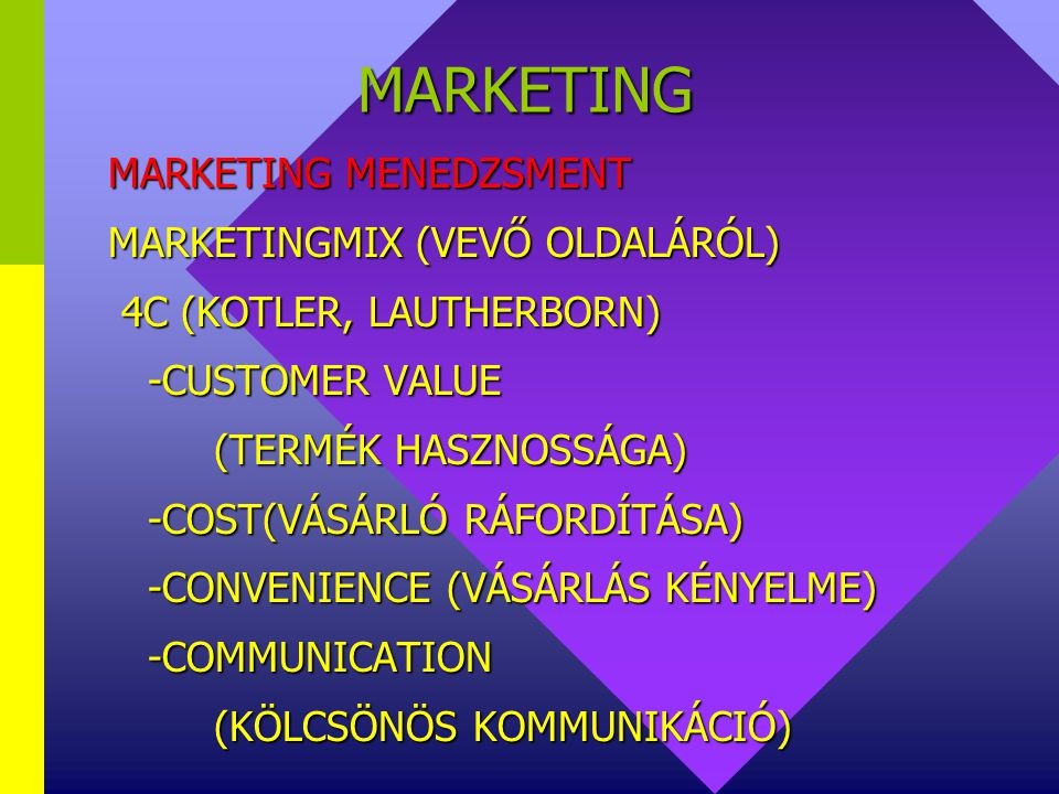 MARKETING MARKETING MENEDZSMENT MARKETINGMIX (VEVŐ OLDALÁRÓL)