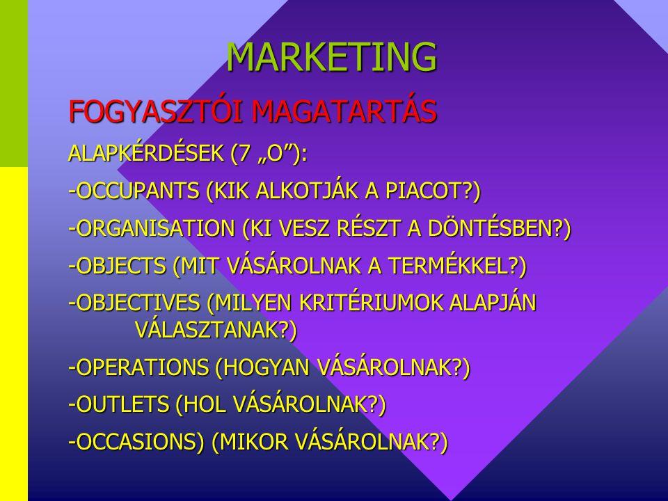 """MARKETING FOGYASZTÓI MAGATARTÁS ALAPKÉRDÉSEK (7 """"O ):"""