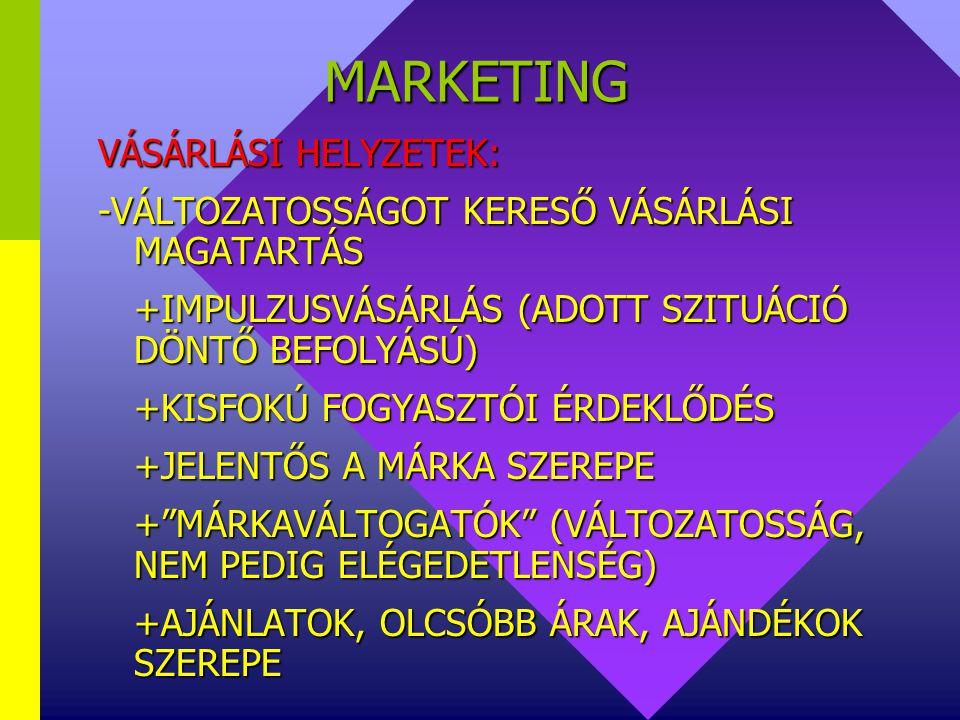 MARKETING VÁSÁRLÁSI HELYZETEK: