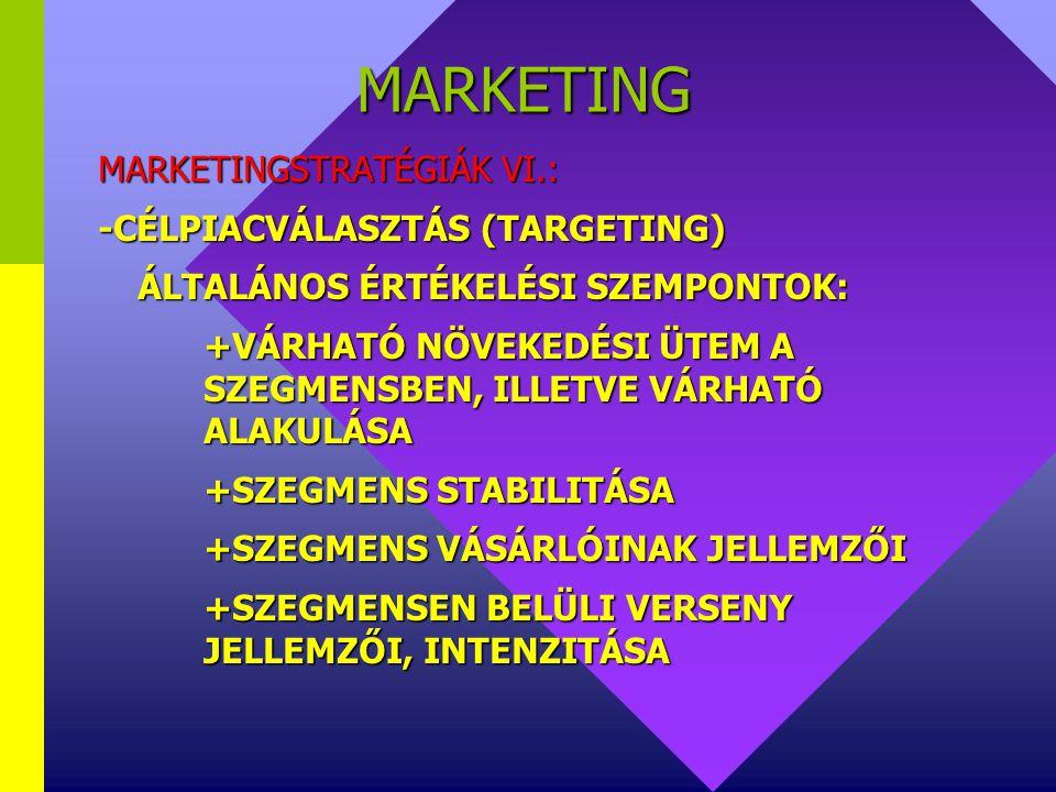 MARKETING MARKETINGSTRATÉGIÁK VI.: -CÉLPIACVÁLASZTÁS (TARGETING)