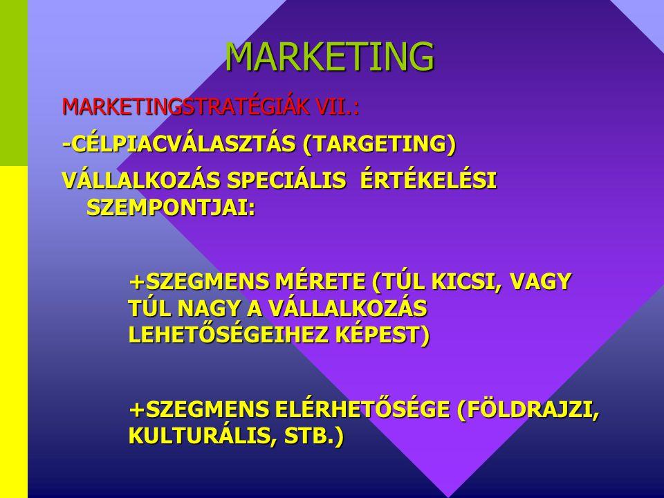 MARKETING MARKETINGSTRATÉGIÁK VII.: -CÉLPIACVÁLASZTÁS (TARGETING)