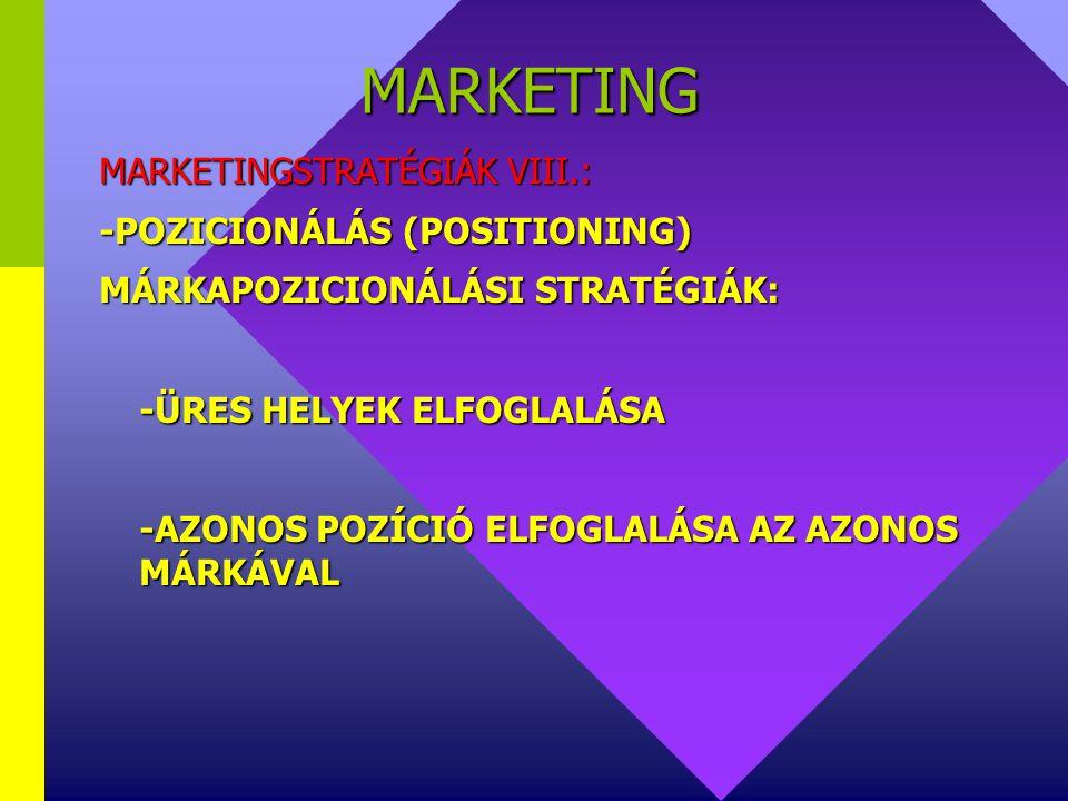 MARKETING MARKETINGSTRATÉGIÁK VIII.: -POZICIONÁLÁS (POSITIONING)