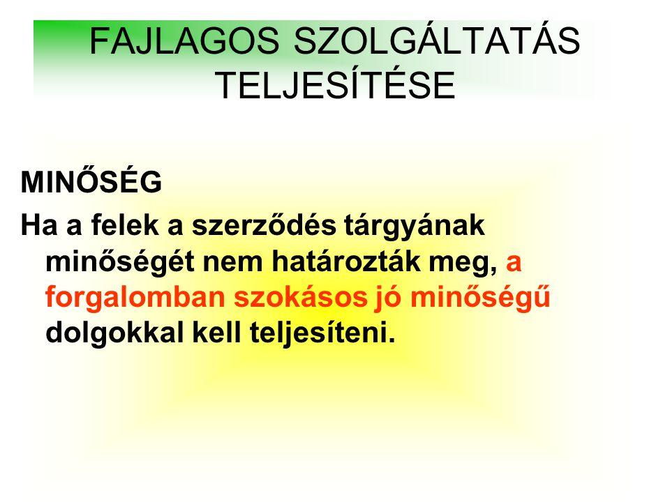 FAJLAGOS SZOLGÁLTATÁS TELJESÍTÉSE
