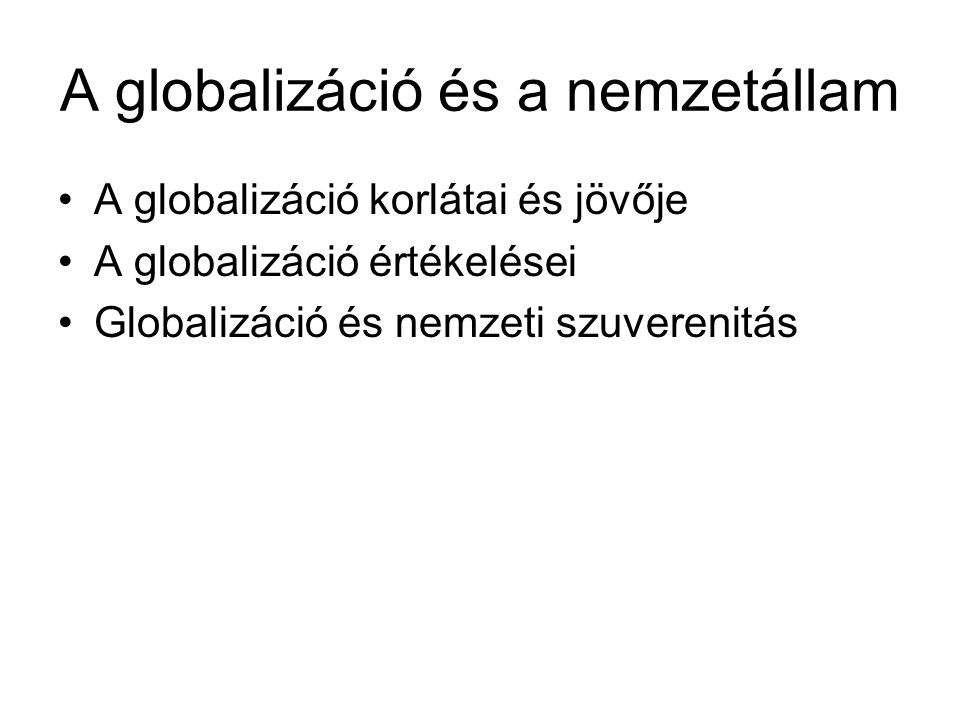 A globalizáció és a nemzetállam