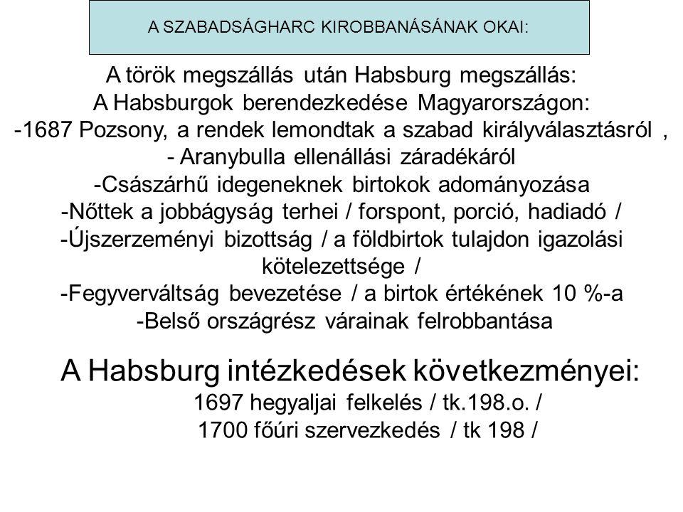 A Habsburg intézkedések következményei: