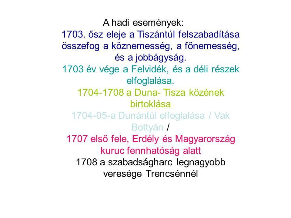 1703. ősz eleje a Tiszántúl felszabadítása