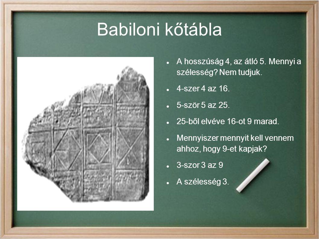Babiloni kőtábla A hosszúság 4, az átló 5. Mennyi a szélesség Nem tudjuk. 4-szer 4 az 16. 5-ször 5 az 25.