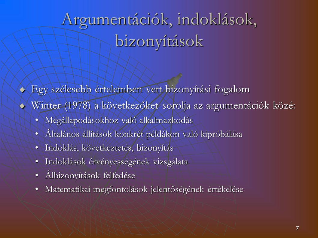 Argumentációk, indoklások, bizonyítások