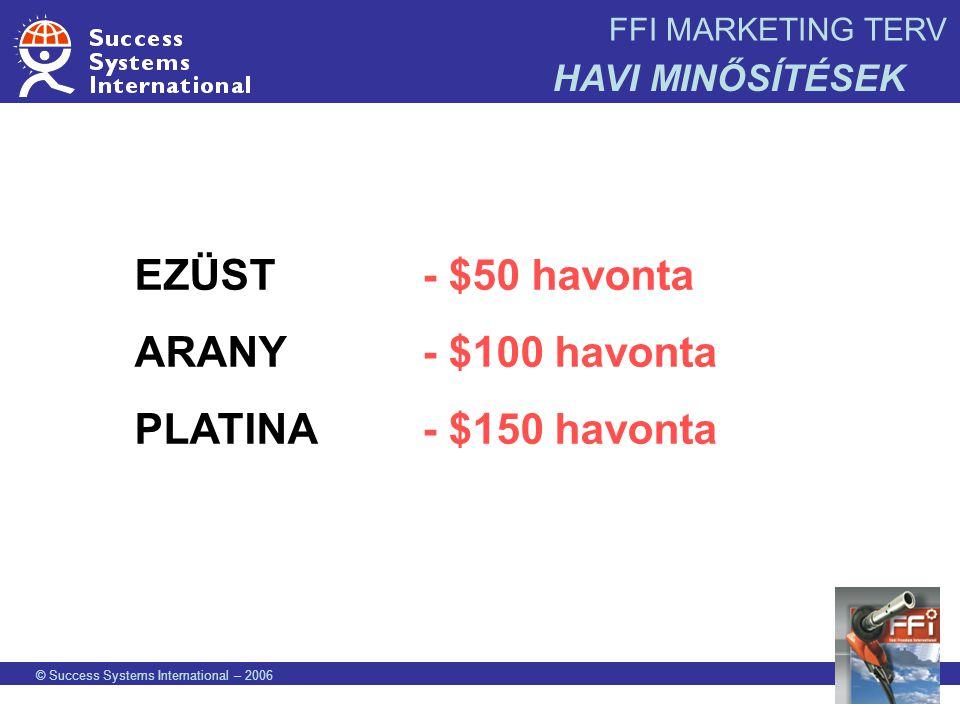 EZÜST - $50 havonta ARANY - $100 havonta PLATINA - $150 havonta