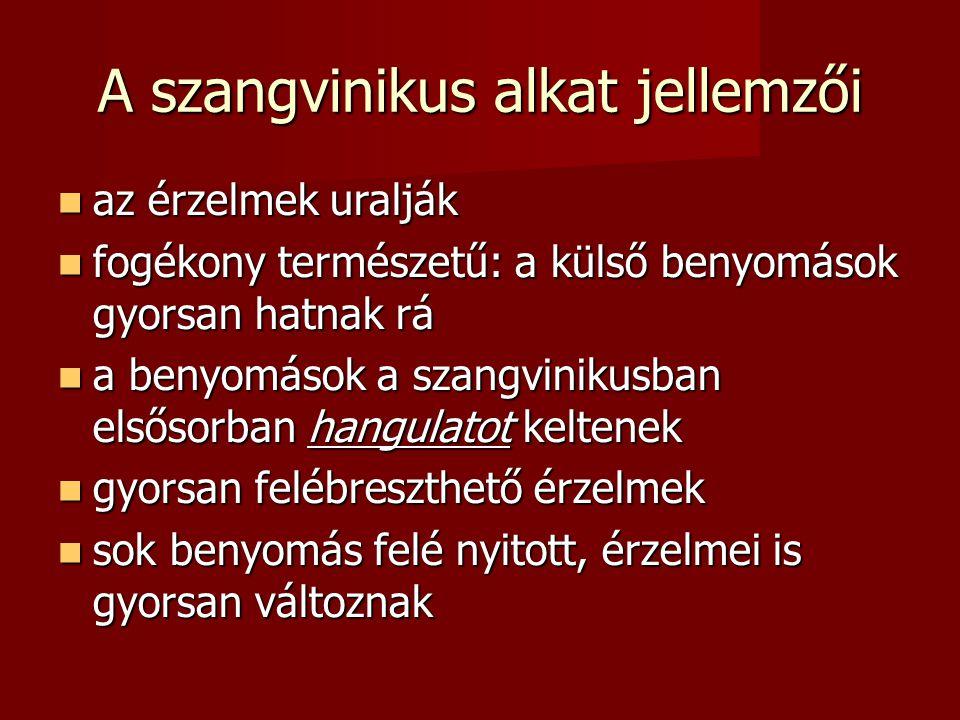 A szangvinikus alkat jellemzői