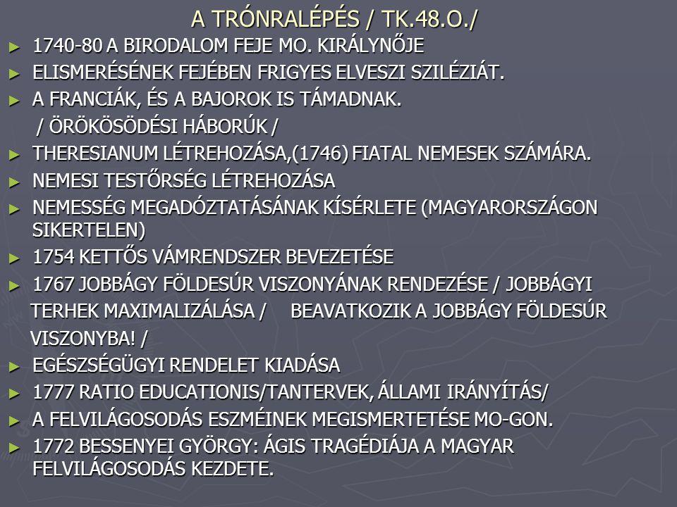 A TRÓNRALÉPÉS / TK.48.O./ 1740-80 A BIRODALOM FEJE MO. KIRÁLYNŐJE