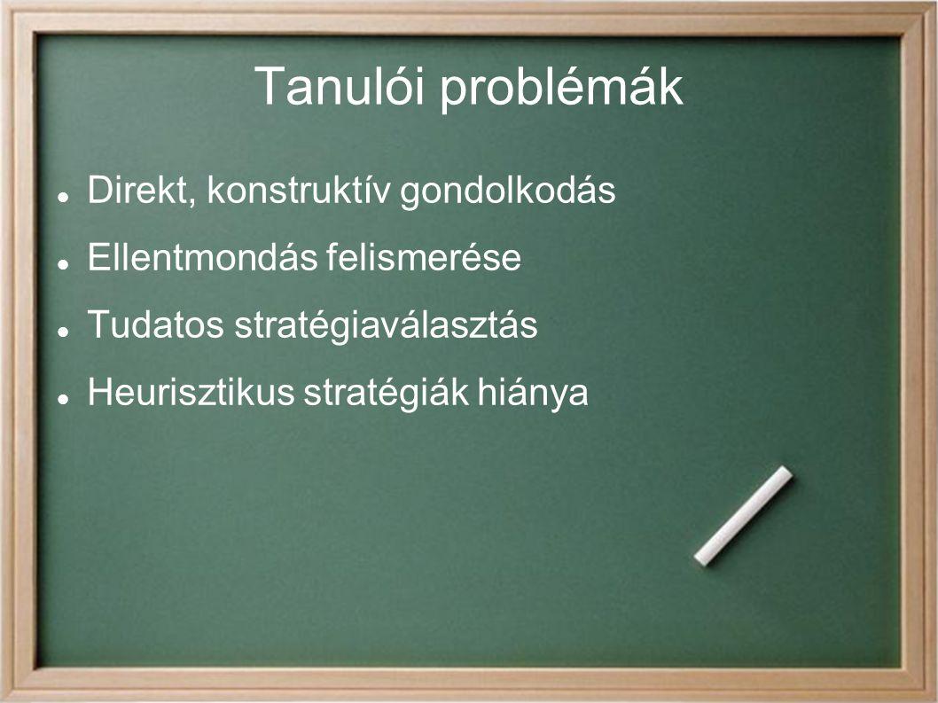 Tanulói problémák Direkt, konstruktív gondolkodás