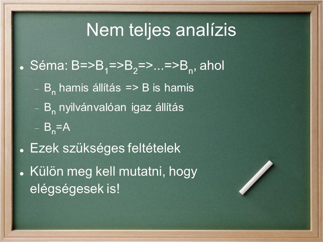 Nem teljes analízis Séma: B=>B1=>B2=>...=>Bn, ahol