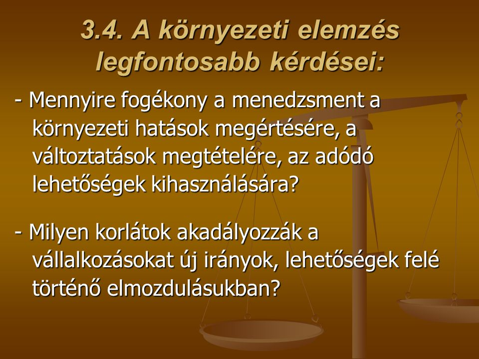 3.4. A környezeti elemzés legfontosabb kérdései: