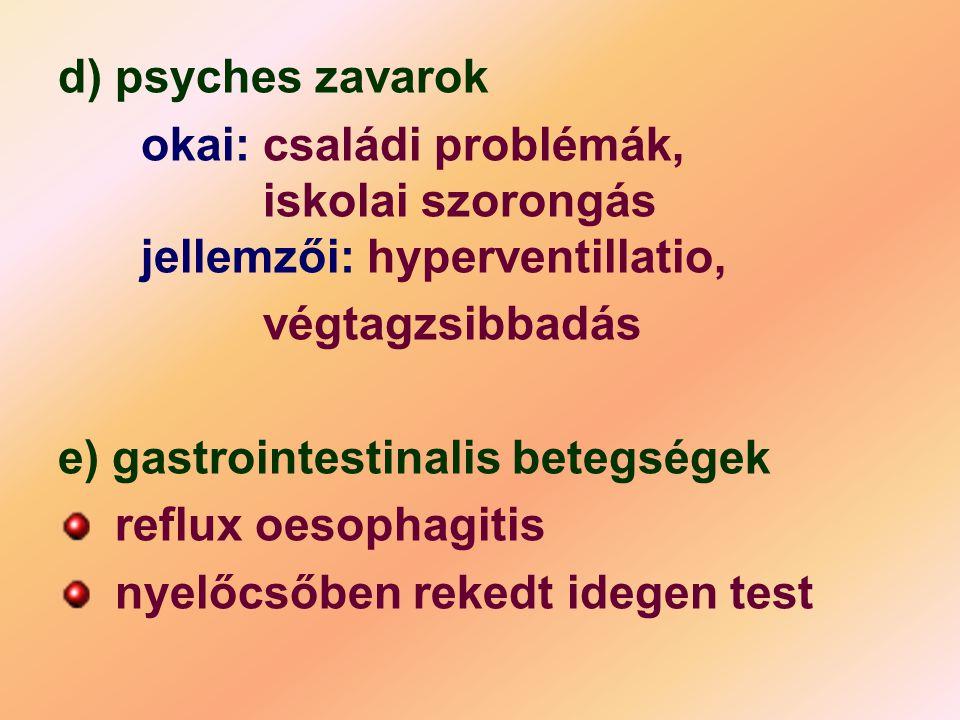 d) psyches zavarok okai: családi problémák, iskolai szorongás jellemzői: hyperventillatio, végtagzsibbadás.