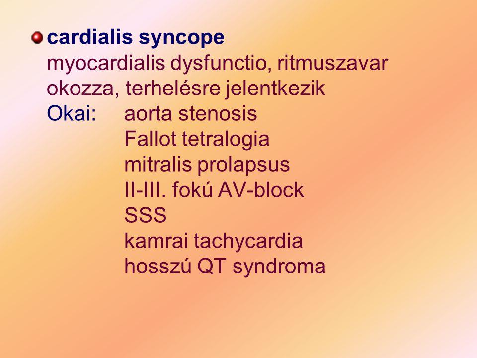 cardialis syncope myocardialis dysfunctio, ritmuszavar okozza, terhelésre jelentkezik Okai: aorta stenosis Fallot tetralogia mitralis prolapsus II-III.