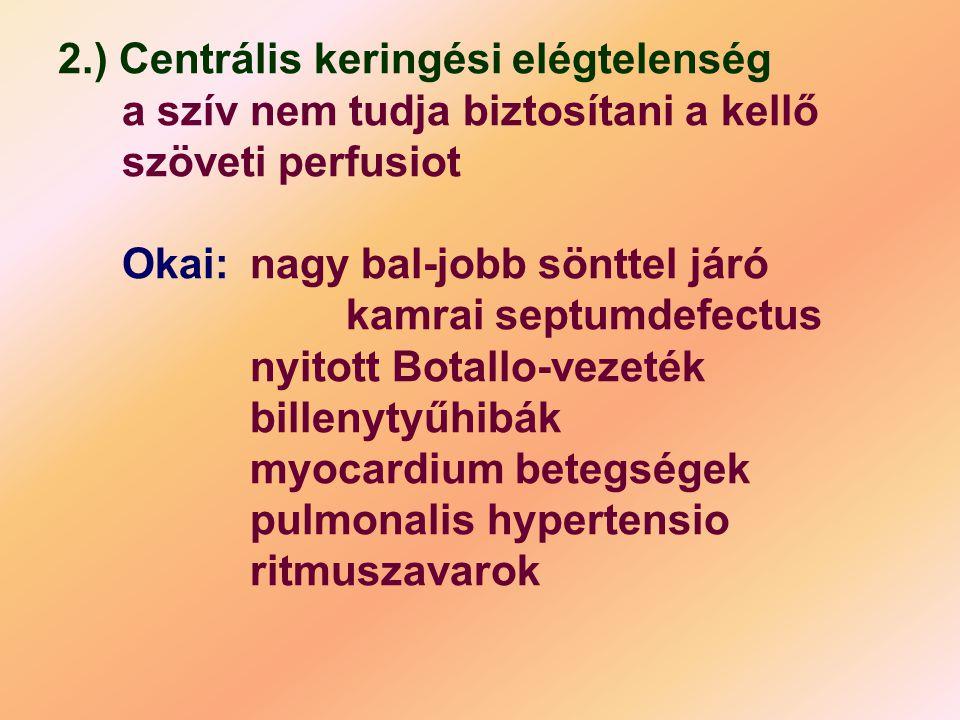 2.) Centrális keringési elégtelenség a szív nem tudja biztosítani a kellő szöveti perfusiot Okai: nagy bal-jobb sönttel járó kamrai septumdefectus nyitott Botallo-vezeték billenytyűhibák myocardium betegségek pulmonalis hypertensio ritmuszavarok