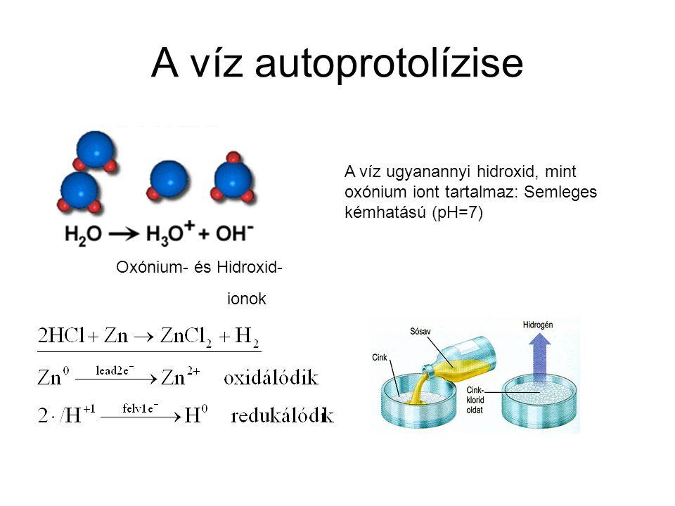 A víz autoprotolízise A víz ugyanannyi hidroxid, mint oxónium iont tartalmaz: Semleges kémhatású (pH=7)