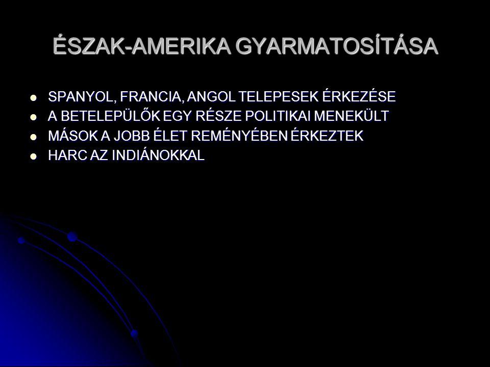 ÉSZAK-AMERIKA GYARMATOSÍTÁSA