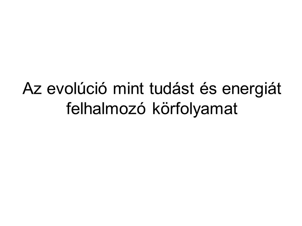Az evolúció mint tudást és energiát felhalmozó körfolyamat