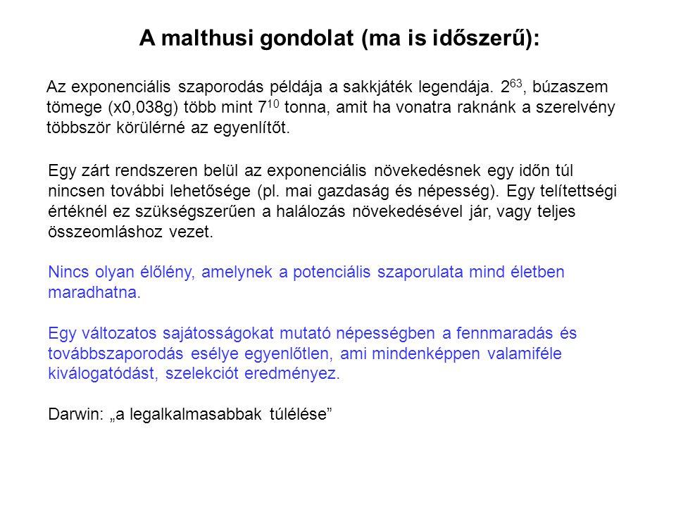 A malthusi gondolat (ma is időszerű):