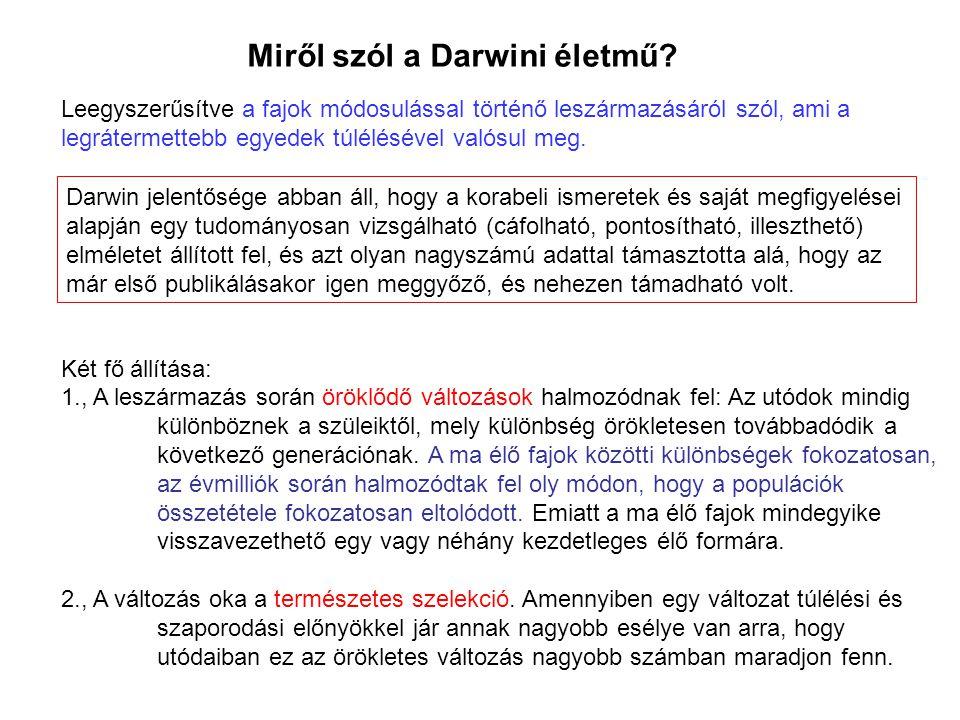 Miről szól a Darwini életmű
