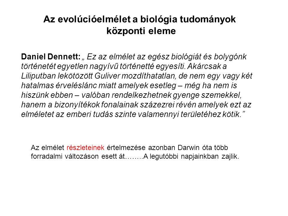 Az evolúcióelmélet a biológia tudományok