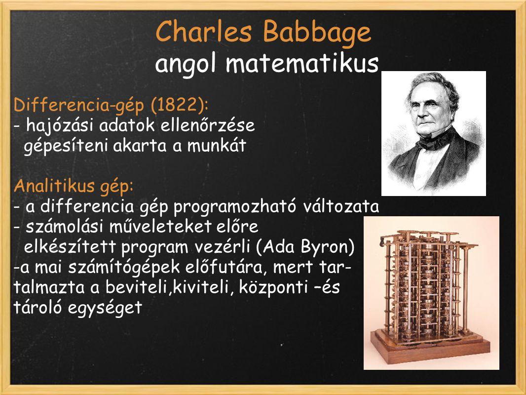 Charles Babbage angol matematikus