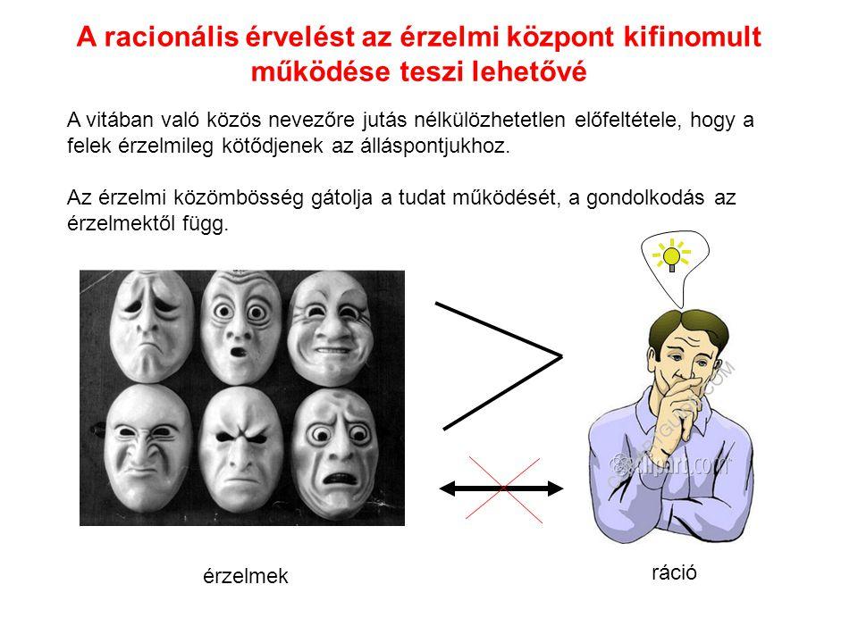 A racionális érvelést az érzelmi központ kifinomult működése teszi lehetővé