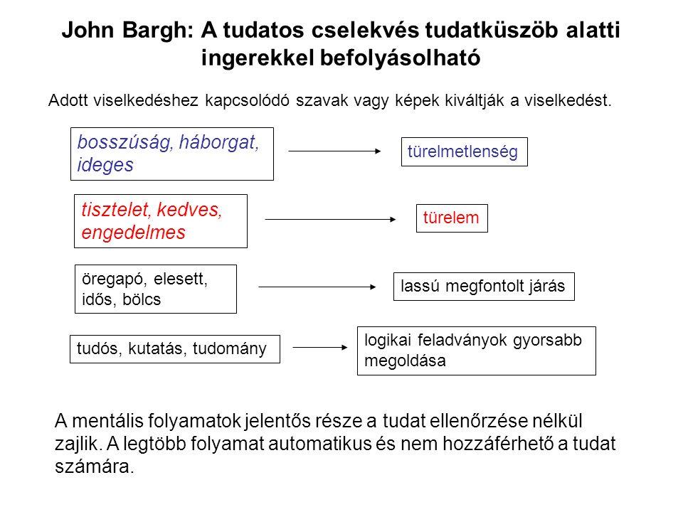 John Bargh: A tudatos cselekvés tudatküszöb alatti ingerekkel befolyásolható