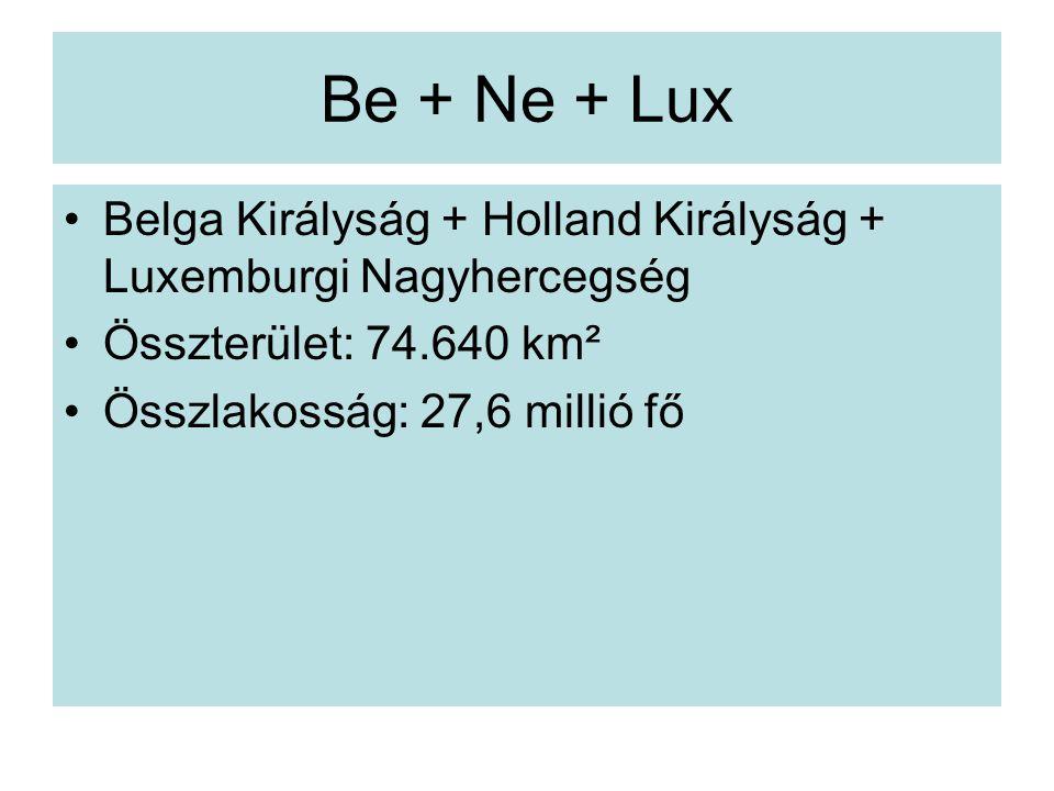Be + Ne + Lux Belga Királyság + Holland Királyság + Luxemburgi Nagyhercegség. Összterület: 74.640 km².