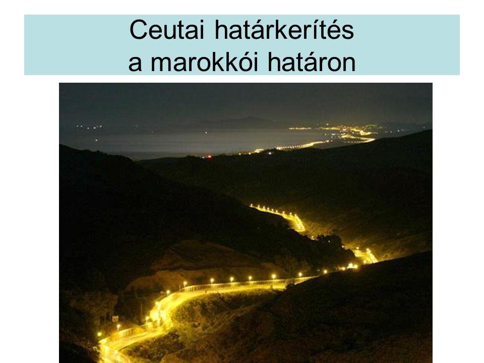 Ceutai határkerítés a marokkói határon