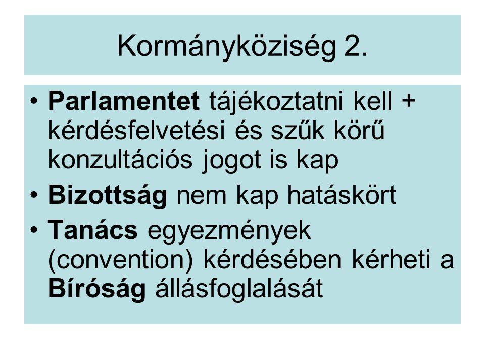Kormányköziség 2. Parlamentet tájékoztatni kell + kérdésfelvetési és szűk körű konzultációs jogot is kap.