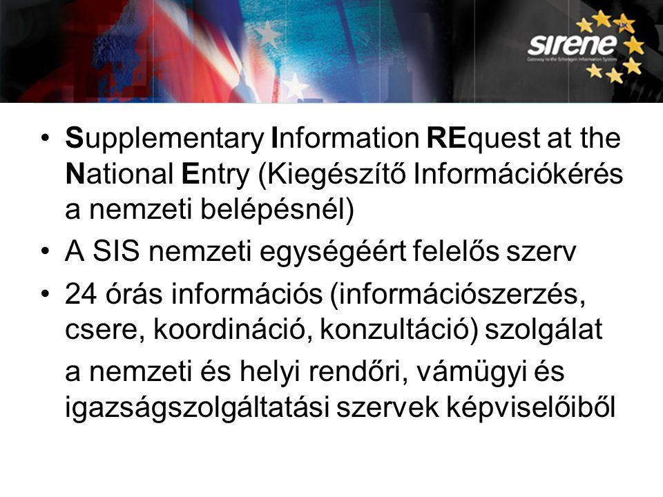 A SIRENE Supplementary Information REquest at the National Entry (Kiegészítő Információkérés a nemzeti belépésnél)
