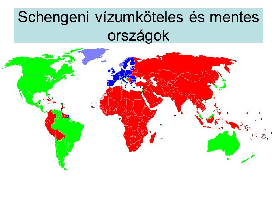 Schengeni vízumköteles és mentes országok