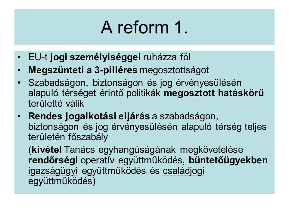 A reform 1. EU-t jogi személyiséggel ruházza föl