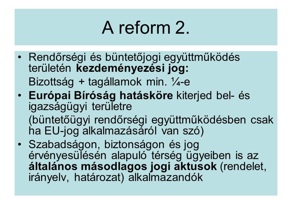 A reform 2. Rendőrségi és büntetőjogi együttműködés területén kezdeményezési jog: Bizottság + tagállamok min. ¼-e.