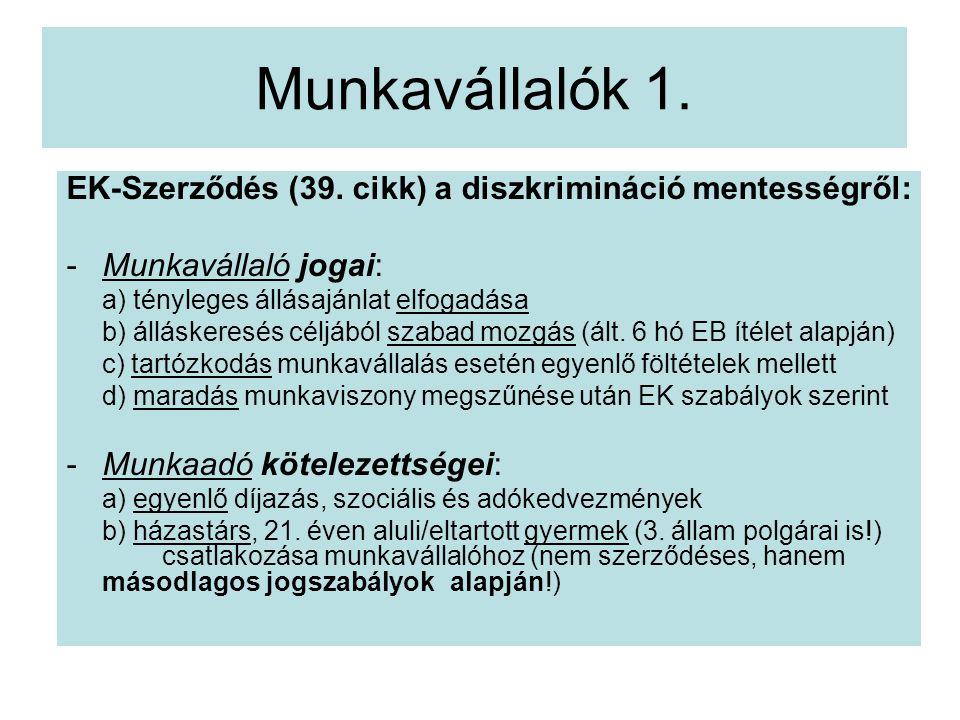 Munkavállalók 1. EK-Szerződés (39. cikk) a diszkrimináció mentességről: Munkavállaló jogai: a) tényleges állásajánlat elfogadása.