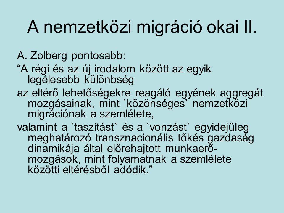 A nemzetközi migráció okai II.