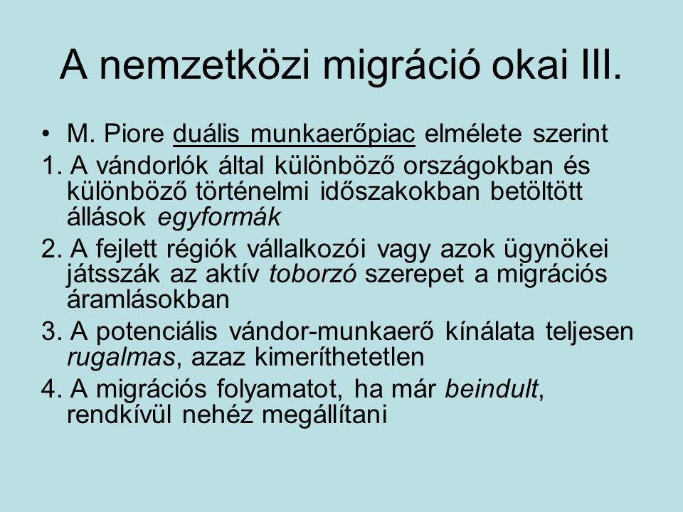 A nemzetközi migráció okai III.