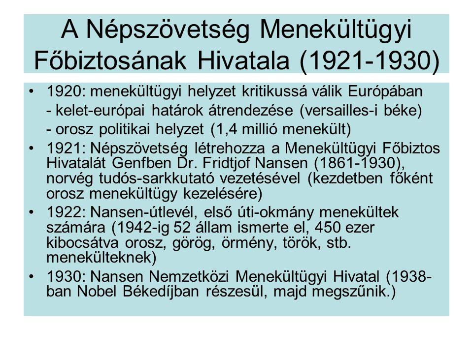 A Népszövetség Menekültügyi Főbiztosának Hivatala (1921-1930)