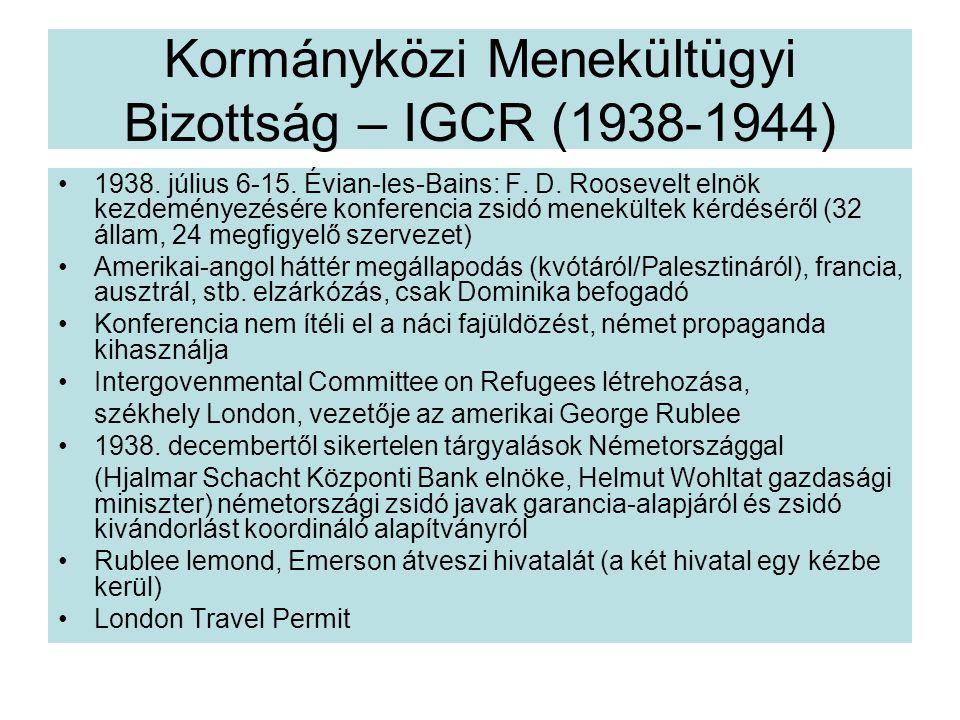 Kormányközi Menekültügyi Bizottság – IGCR (1938-1944)