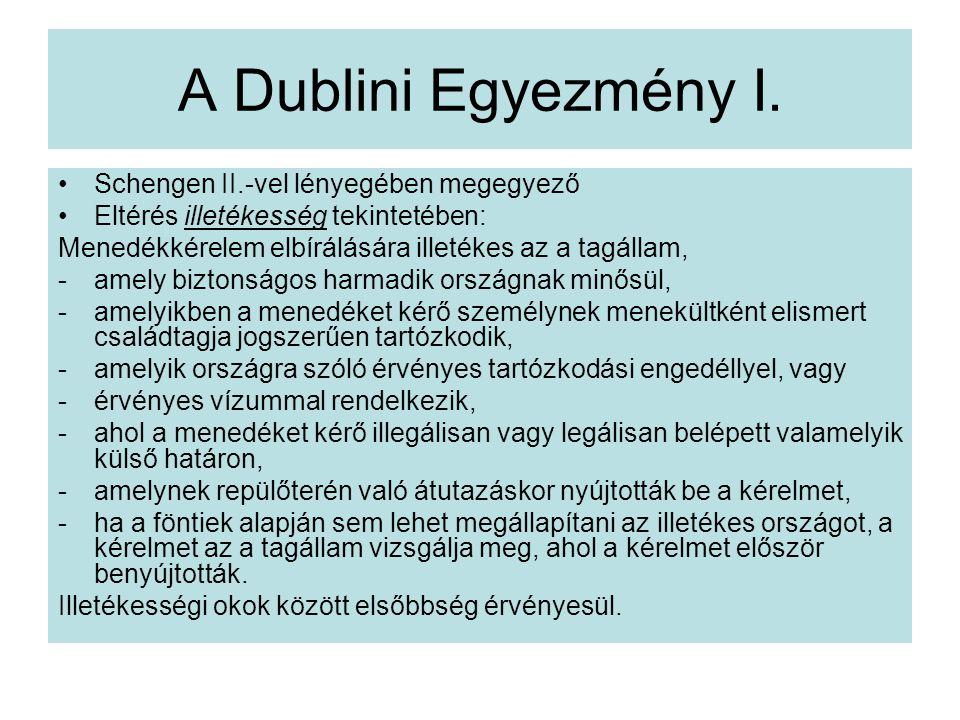 A Dublini Egyezmény I. Schengen II.-vel lényegében megegyező