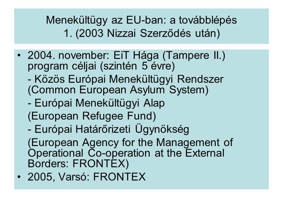 Menekültügy az EU-ban: a továbblépés 1. (2003 Nizzai Szerződés után)
