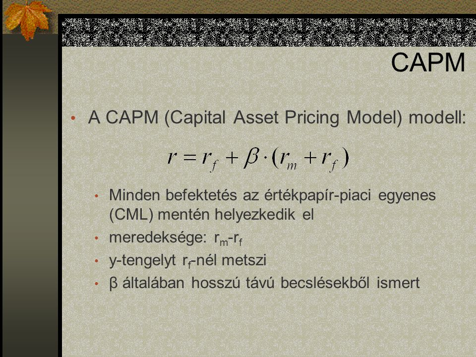 CAPM A CAPM (Capital Asset Pricing Model) modell: