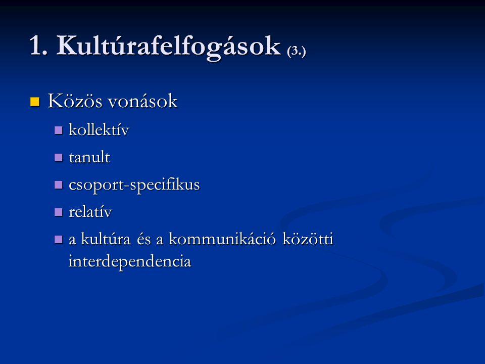 1. Kultúrafelfogások (3.) Közös vonások kollektív tanult
