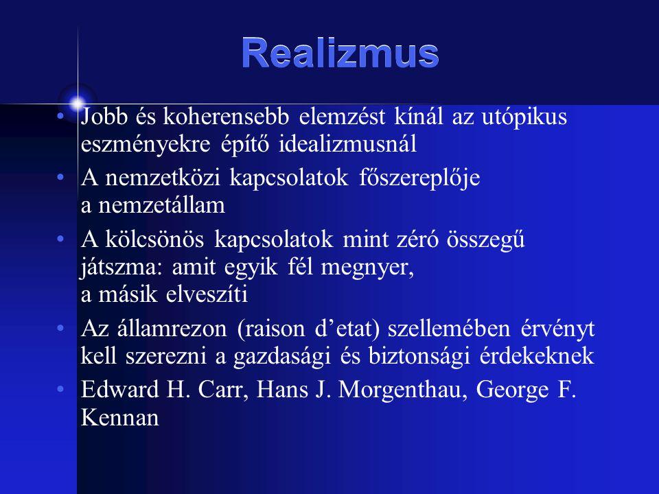 Realizmus Jobb és koherensebb elemzést kínál az utópikus eszményekre építő idealizmusnál. A nemzetközi kapcsolatok főszereplője a nemzetállam.