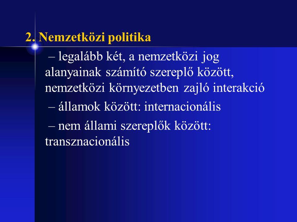 2. Nemzetközi politika – legalább két, a nemzetközi jog alanyainak számító szereplő között, nemzetközi környezetben zajló interakció.