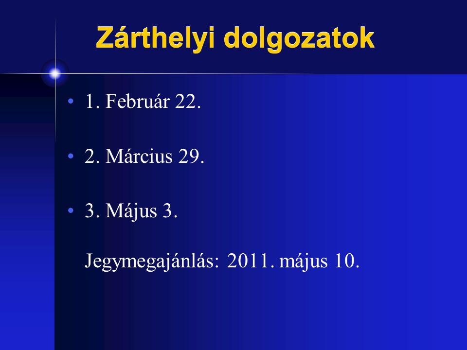 Zárthelyi dolgozatok 1. Február 22. 2. Március 29.